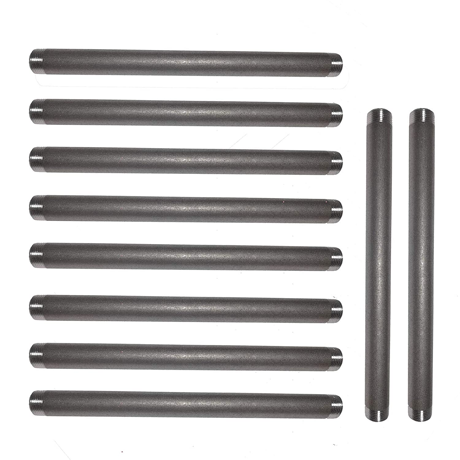 Malleable Cast Iron Pipe Nipples and Fittings,for DIY Vintage Furniture,10 Pack GPOWER 3//4 Inches x 12 Inches Black Pipe Nipples