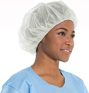 Disposable Bouffant (Hair Net) Caps, Spun-bounded Poly, Hair Head Cover Net 21 Inches by Careoutfit (100)