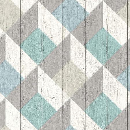 Galerie Unplugged Wood Panel Effect Triangle Pattern Textured Vinyl Wallpaper Blue Green White UN3202