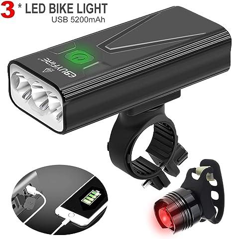 EBUYFIRE Luz Bicicleta Recargable USB,luz Delantera Bicicleta 3000 ...
