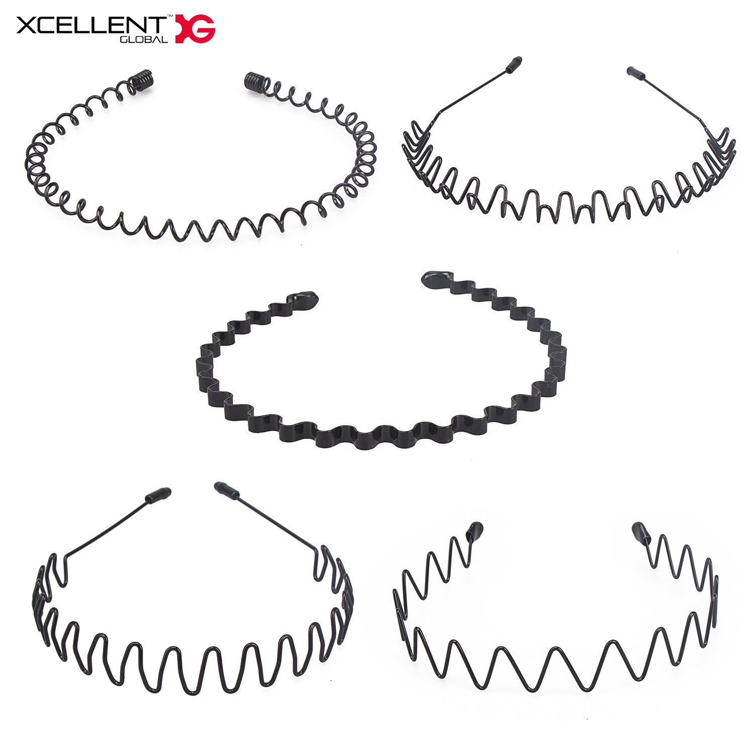Xcellent Global 5pcs Unisex Hair Hoop Spring Wave Hairband for Sports Headwear Accessories(Black) BT049