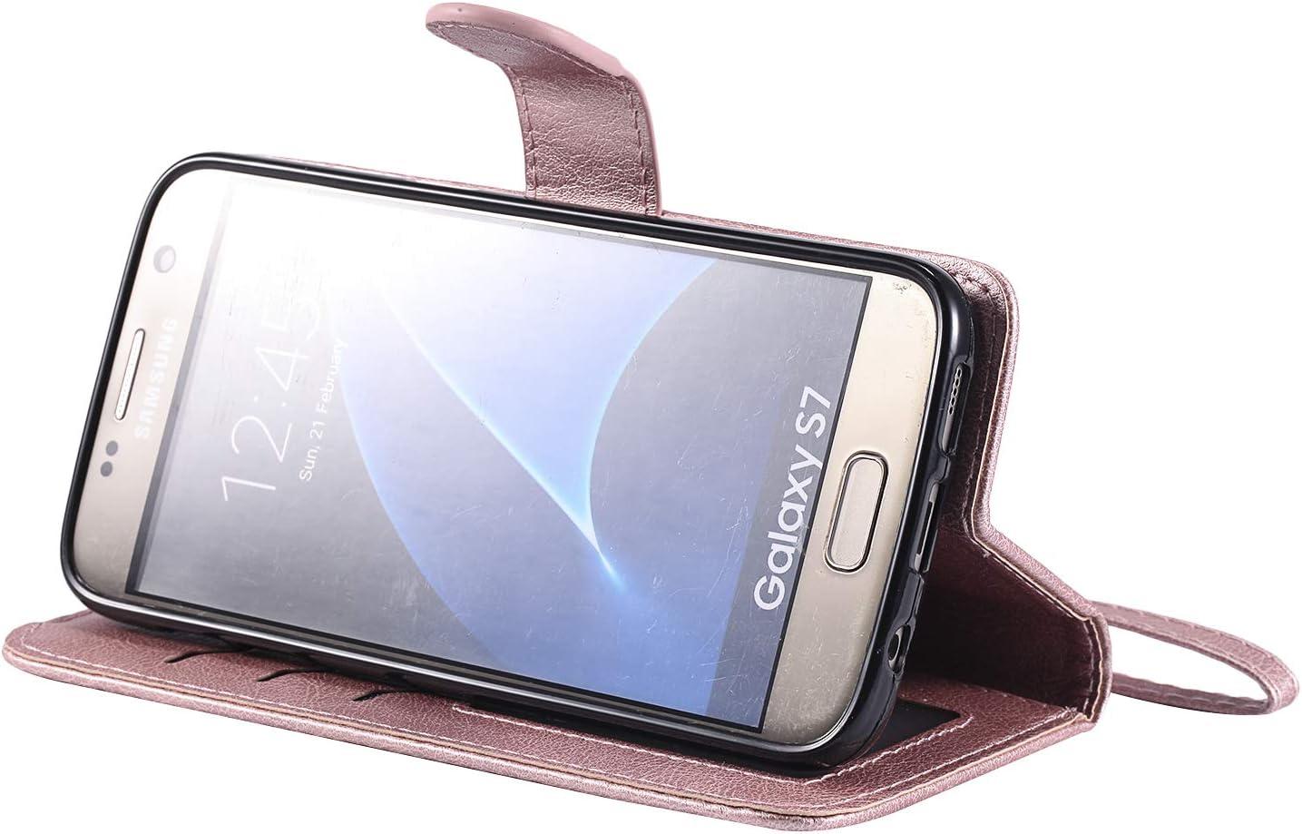 NEKTU20220 Rouge /Étui Housse Portefeuille Magnetique Antichoc avec Fonction de Support et Coque Souple pour Samsung Galaxy S7 NEXCURIO Coque Galaxy S7 Cuir PU /à Rabat