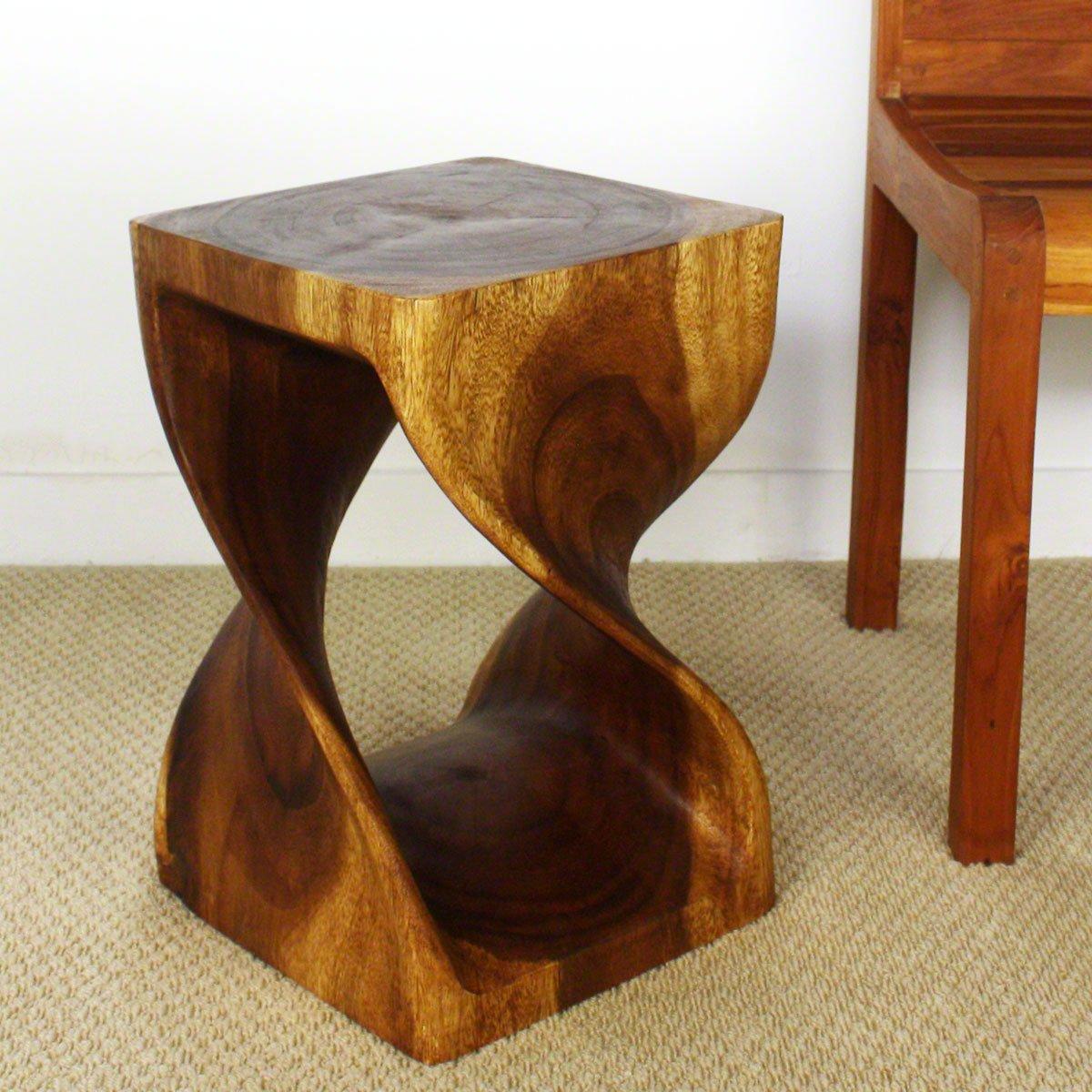 Amazon.com: Twist Stool 12x12x18 Inch H Sust Monkey Pod Wood W Eco Friendly  Livos Walnut Oil: Kitchen U0026 Dining