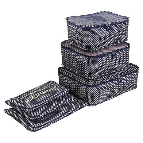 Organizador de Maleta Bolsa para Ropa Zapato Sucio de Viaje 6 Fijado cubo de viaje Cubos de embalaje Bolsas Organizador de equipaje de viaje perfecto ...