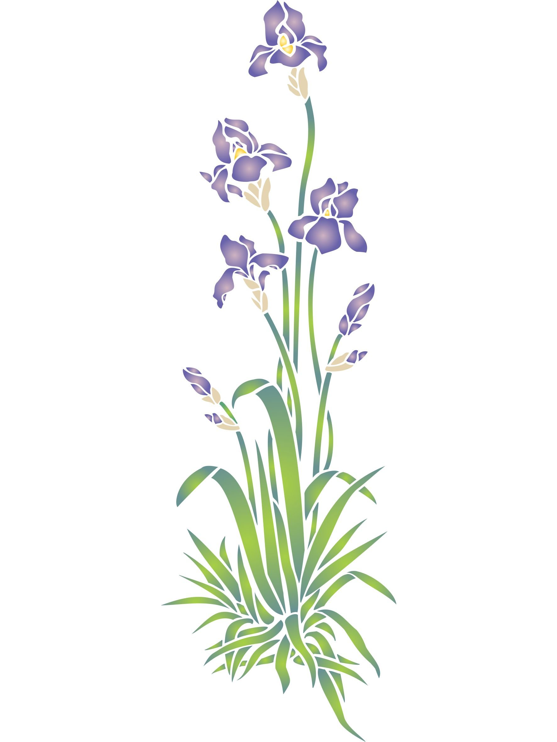 Iris Stencil - (size 6.5''w x 20.5''h) Reusable Wall Stencils for Painting - Best Quality Wall Border Flower Stencil Ideas - Use on Walls, Floors, Fabrics, Glass, Wood, Terracotta, and More...