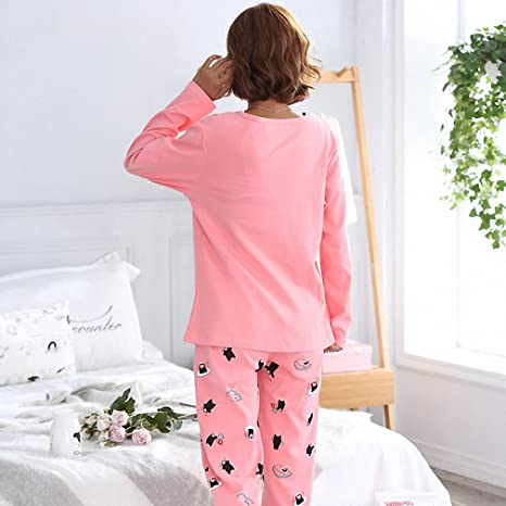 Spring Pyjamas Women Carton Cute Pijama Pattern Pajamas Set Pijamas Mujer Sleepwear Pink L at Amazon Womens Clothing store:
