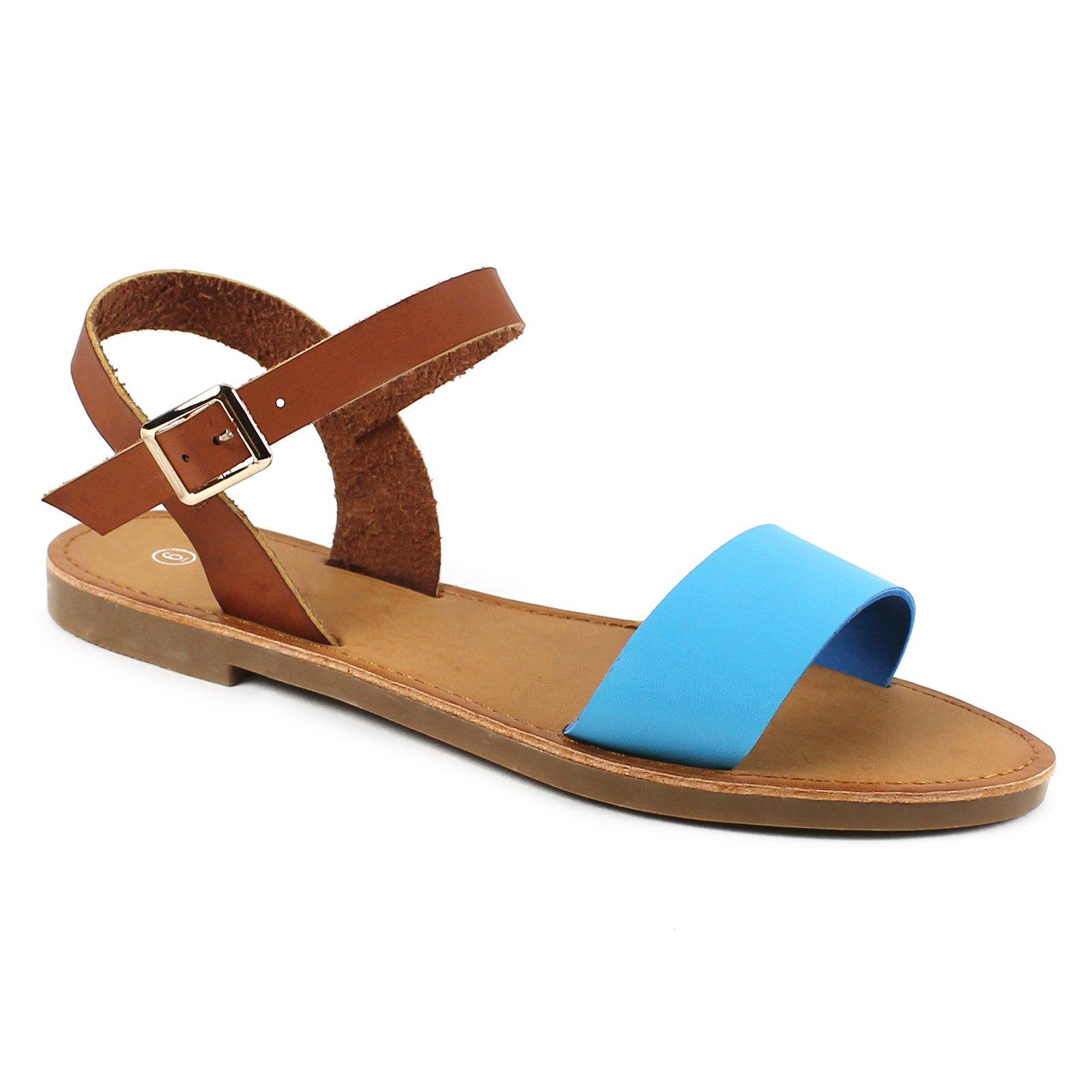 Women's Shoe Comfort Simple Basic Ankle Strap Flat Sandals (9, Blue/Cognac)