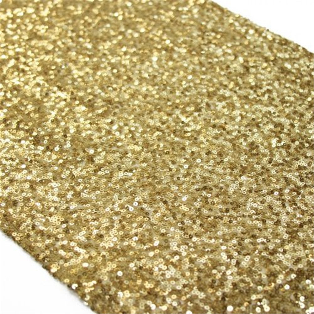 TRLYC Champagne Sequin Cake Table Runner Sparkly Table Linens Tablerunner for Party/Wedding/12x96inch