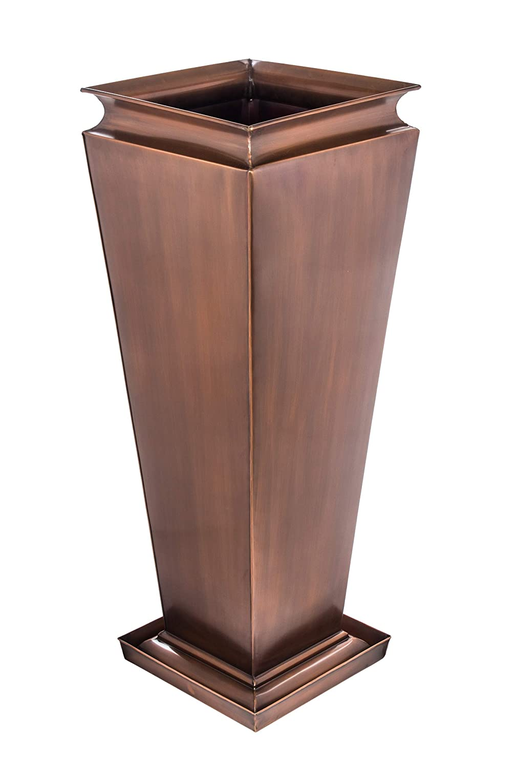 H Potter Tall Planter Patio Garden Copper Indoor Outdoor Deck Flower with Tray
