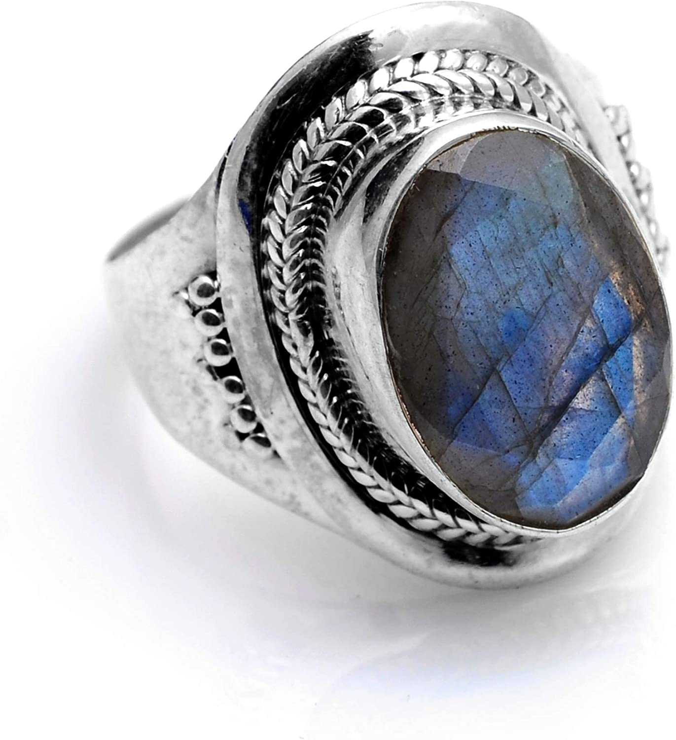 Silver Palace 925 Sterling Silver Natural Labradorite Ring for Womens and Girls