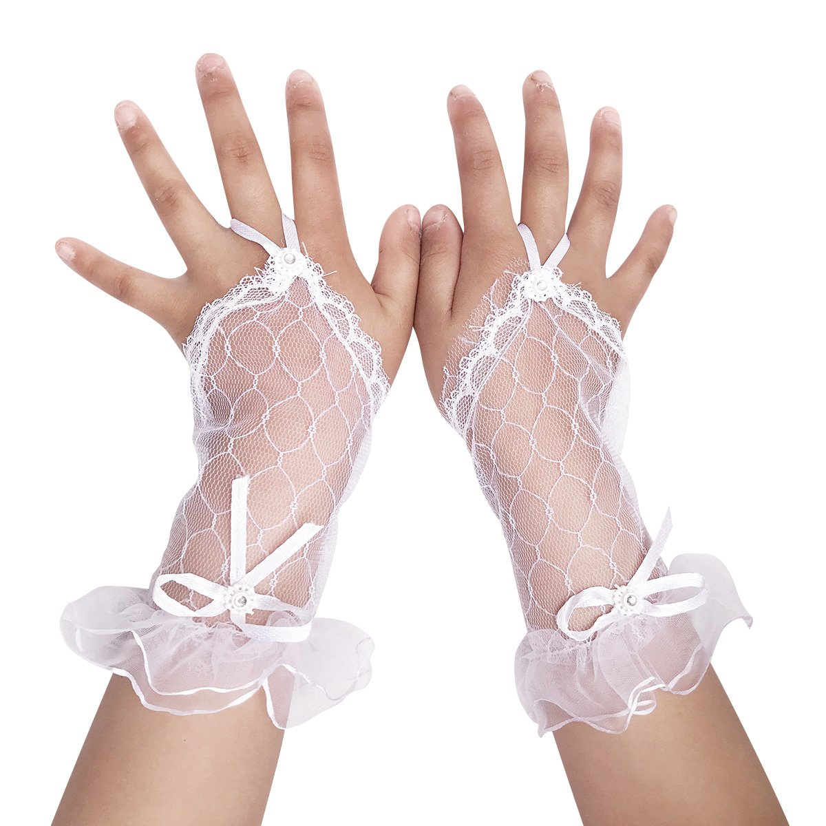 Girls' First Communion Accessories White Fingerless Accented Flower Girl Gloves for Special Occasion Dress GSCH