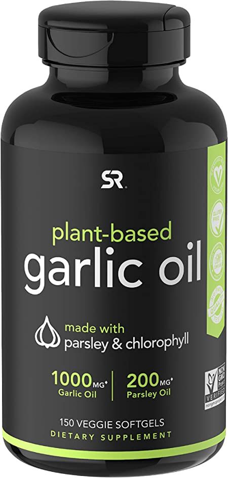 Odorless Garlic Oil Pills (1000mg) with Parsley & Chlorophyll   The only Vegan Certified Garlic Supplement Available   150 Veggie softgels