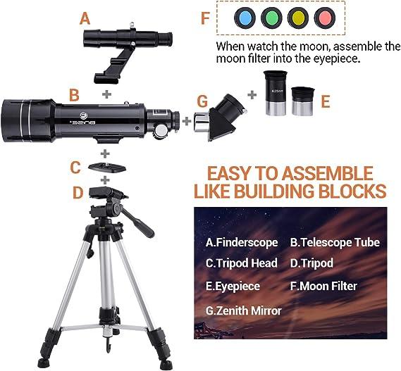 Professionelles Teleskop mit hoher Halterung f/ür Kinder Astronomie Anf/änger Erwachsene Bluetooth 70-mm-HD-Refraktorteleskop Telefonhalter Starterfernrohr mit Stativ