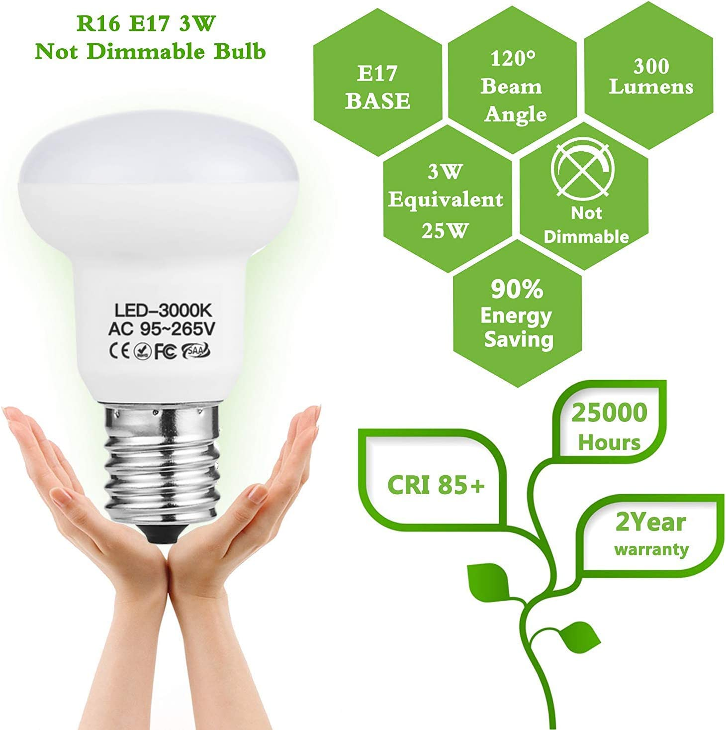 R14 LED light bulbs 3W 300Lumen E17 Base 5000K Daylight White Household 120V 120 Degree CRI85+ Reflector Circular Umbrella Mushroom Lamp Non Dimmable 4 Pack WELLHOME WH-BR14//R14-3W-L Replaces 25 Watt Traditional light bulbs