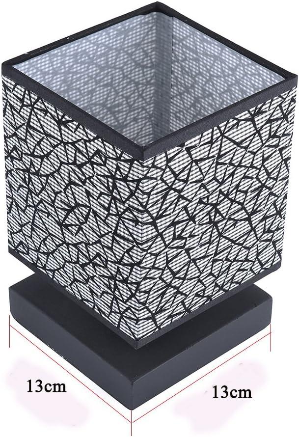 HHome Plus moderne Simple Lampes de bureau Chambre de chevet et lampes de table avec Square Fabric Lamp Shade Base en Bois Noir Lampe de table Long c/âble avec Commutateur de ligne