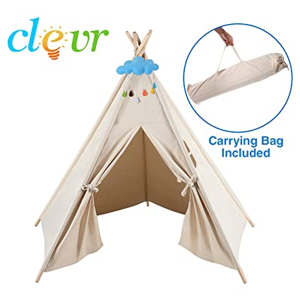 amazon com clevr 5 sided 6 kids indoor outdoor teepee play tent