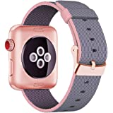INTENY Yichan Woven Nylon Fabric Wrist Strap Replacement Band with Classic Square Stainless Steel Buckle for Apple Watch iWatch Series 1 / 2 / 3,Sport & Edition,38mm,Lightpink and Midnightblue