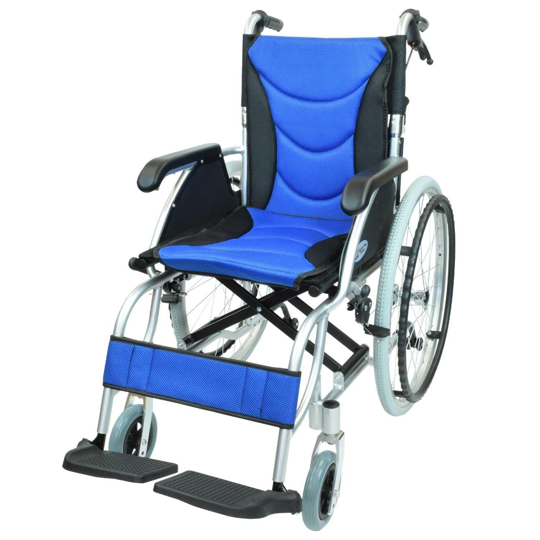ケアテックジャパン 自走式 アルミ製 車椅子 CA-32SU ハピネスプレミアム (ブルー) B01MY81WDY ブルー ブルー