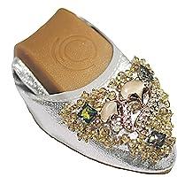 USANDY Women's Wedding Flats Rhinestone Slip On Foldable Ballet Shoes