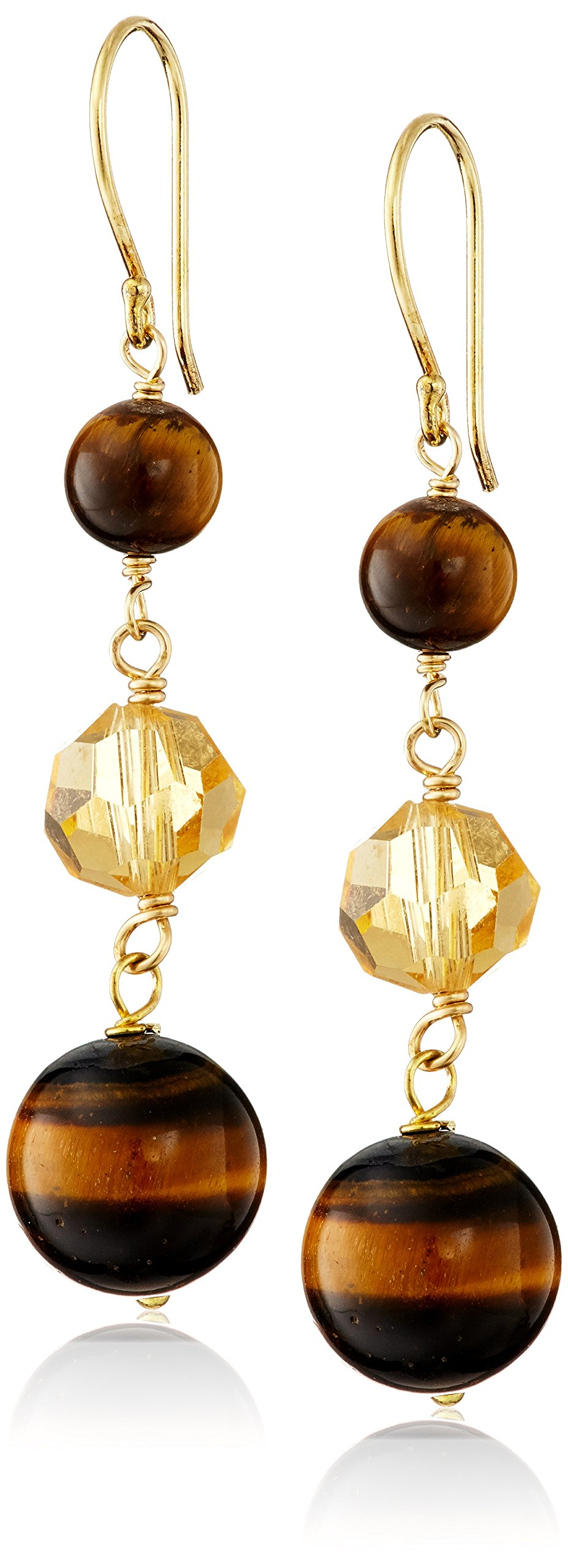 Yellow Gold-Plated Sterling Silver Linked Tiger's Eye Beads with Yellow Glass Bead Drop Earrings