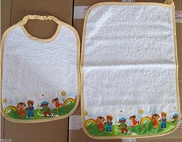 Juego de 2 piezas de guardería con babero y toalla con nombre bordado del niño: Amazon.es: Hogar