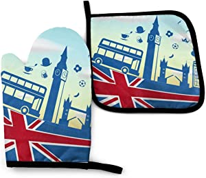 UK Background Funny Oven Mitts and Pot Holders Girls and Women Men Heat Resistant Kitchen Bake Gloves for BBQ Cooking Baking, Grilling