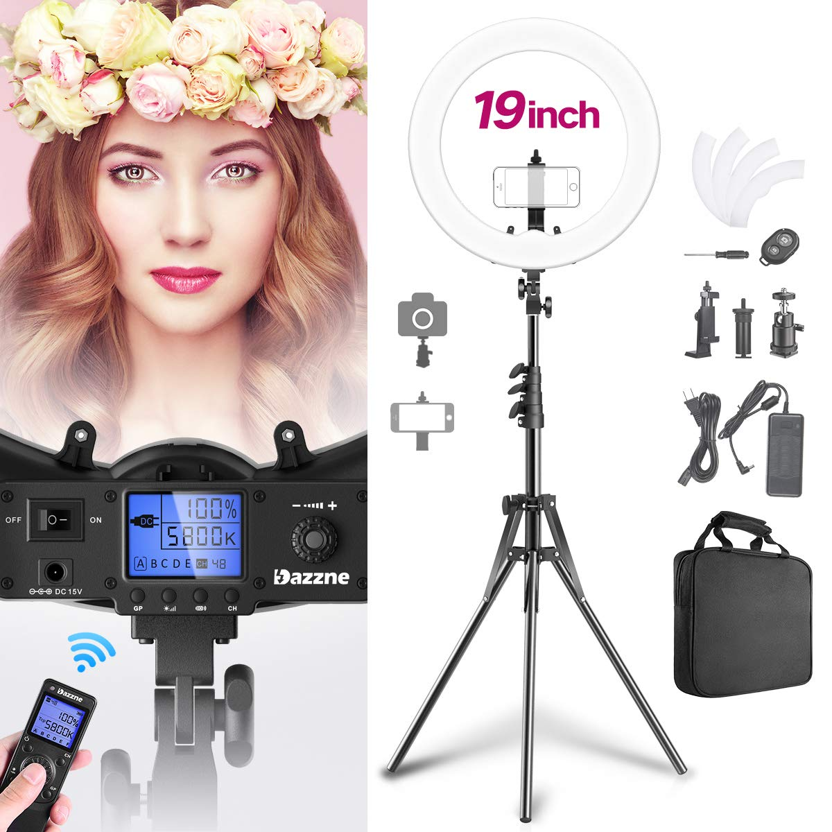 Remote Control 19'' Ring Light with Stand Camera Smartphone Holder Kit 55w 4800Lux 3000K-5800K Dimmable 1%-100% for YouTube Video Shooting Twitch Live Stream Beauty Makeup Selfie Photography Lighting