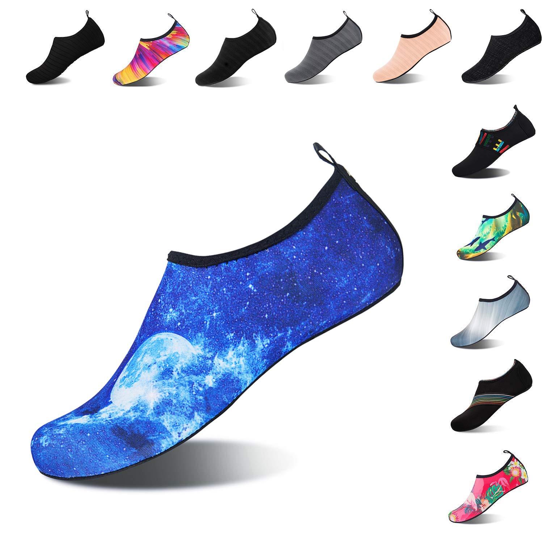 NING MENG Kids Water Shoes Aqua Sock Slip-on Quick Dry Barefoot Swim Skin Shoes for Little Boys Girls (Blue.Moon,32/33EU)