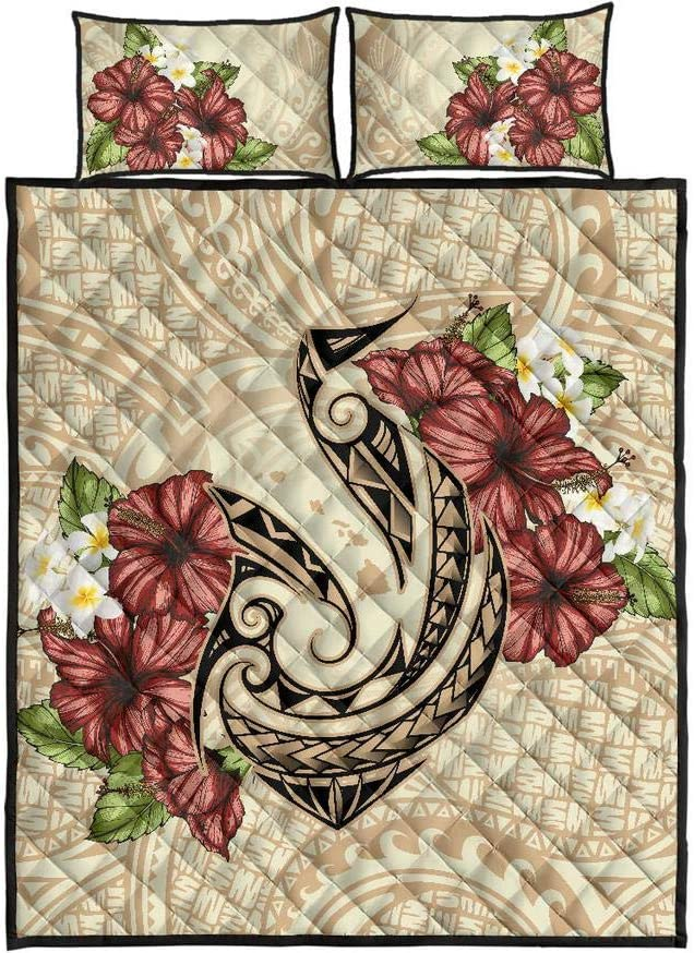 Unique 3D Design Suitable for All Seasons with Mellow Cotton Material Comfortable and Luxurious. Wecco Hawaiian Turtle Plumeria Polynesian Quilt Twin Size