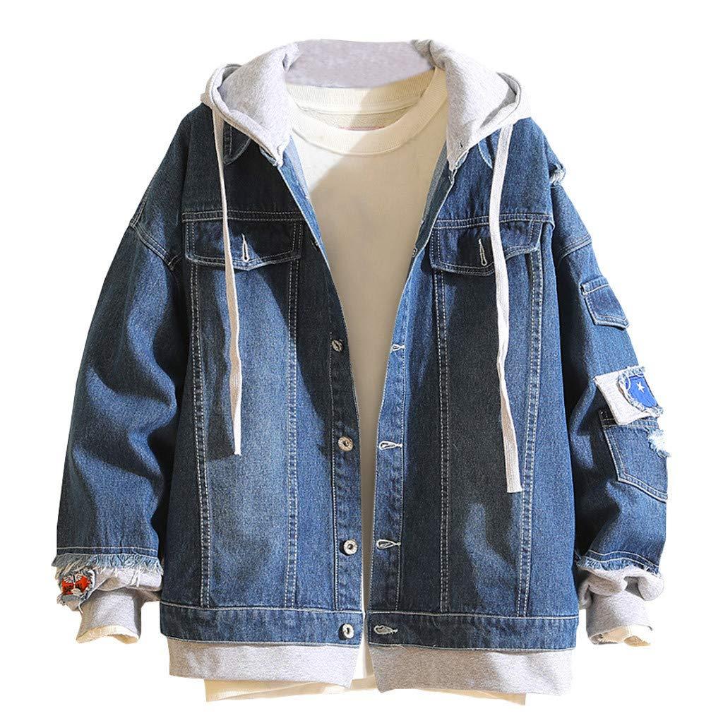 F_Gotal Mens blazer Men's Denim Hooded Jacket Button Down Denim Jacket Graphic Hoodie Cosplay Unisex Outwear Trucker Jean Coat by F_Gotal Mens blazer