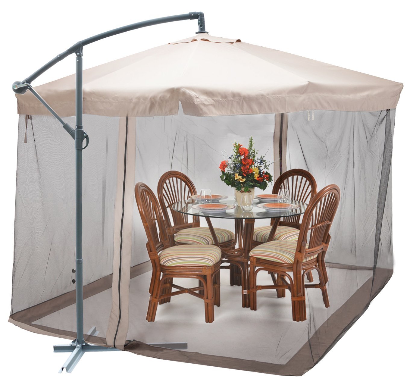 Genial Amazon.com : TMS Offset Umbrella With Removable Mosquito Bug Mesh Net 9FT X  9FT Patio Offset Tilt Post Deck Gazebo Outdoor Shade, Tan : Garden U0026 Outdoor