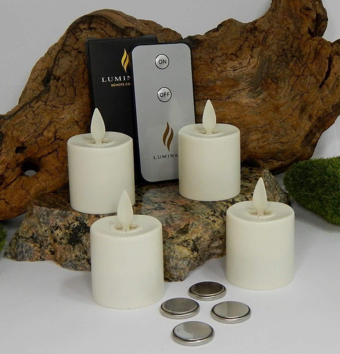 4pc Luminara Flameless BATTERY OPERATED Tea Light Candles Set White 3.7cm x 3.2cm Auto-Timer BONUS REMOTE CONTROL INCLUDED B071YSYD4J