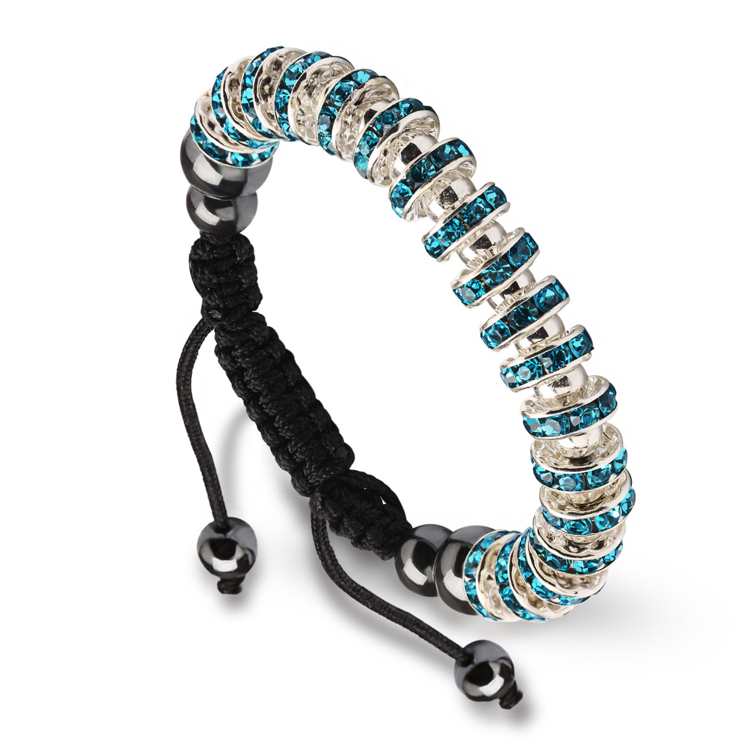 Zircon Stoppers Macrame Bracelet,UHIBROS Multicolor Crystal Unisex Adjustable Fashion Braid Bracelet Lake Blue Stoppers Beads Braiding Bangle