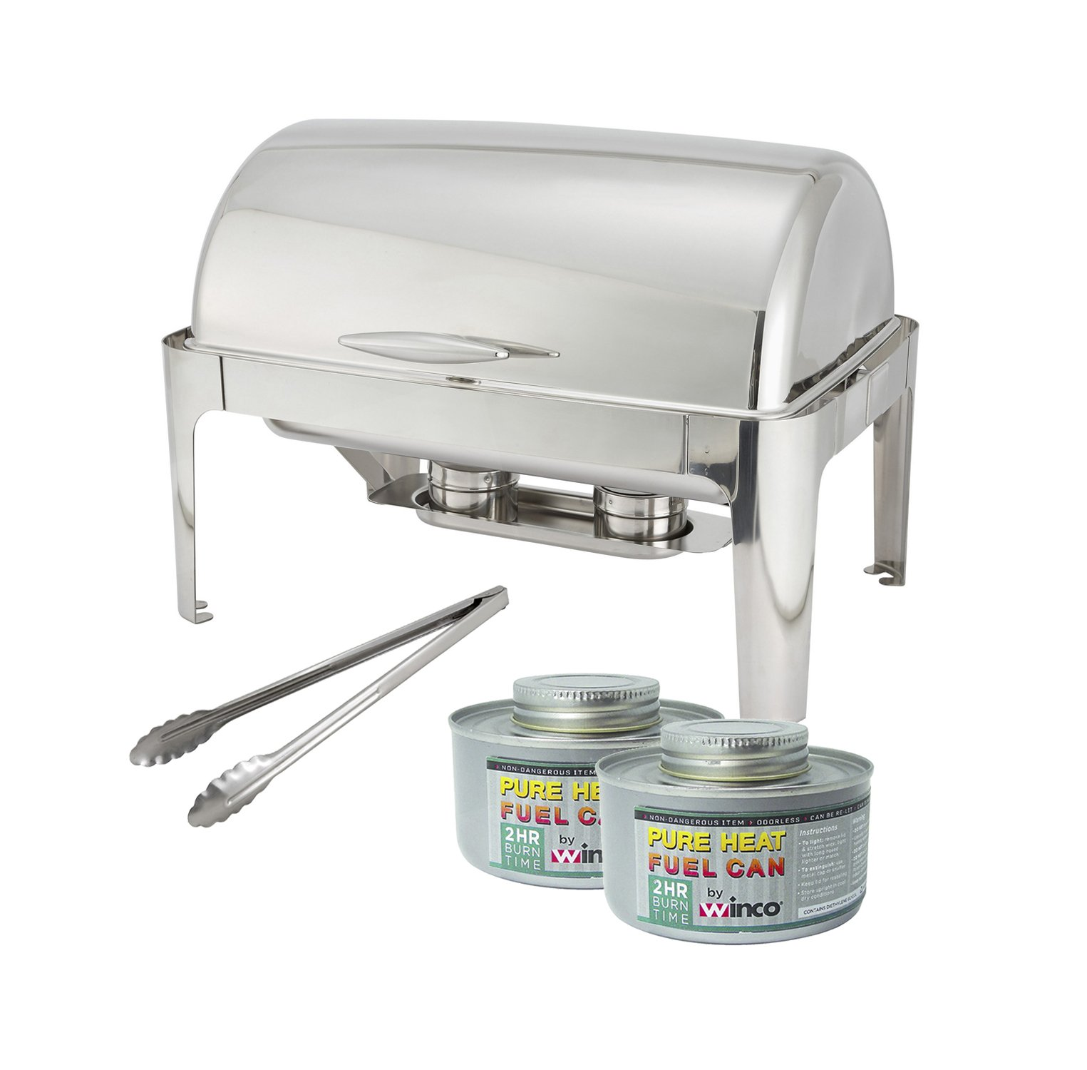 Winware 8 Quart Stainless Steel Full Size Roll Top Chafer, Chafing Dish Set with 2 Chafing Dish Fuel and 16-Inch Stainless Steel Multi-Function Tong