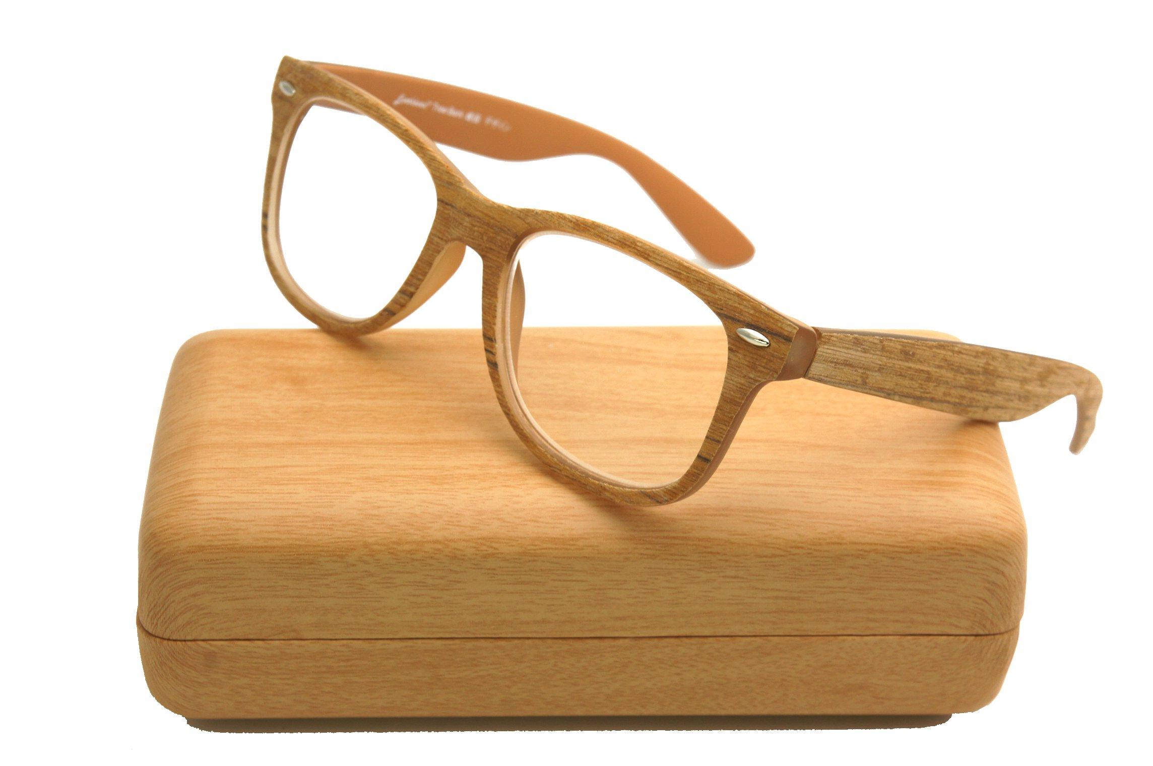 ColorViper Square wayfarer natural wood Real Tree bamboo frame Reading Glasses (wayfarer matte light brown color, 2.00)