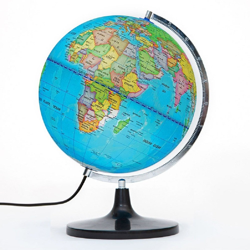 PROW® 12 Zoll beleuchtetes ausführliches pädagogisches geographisches Lernen 12 Zoll Diam Welt Globus Tellurion Terrestrial Globe Mit Stand für Kinder Baby-Beleuchtung Nachtansicht