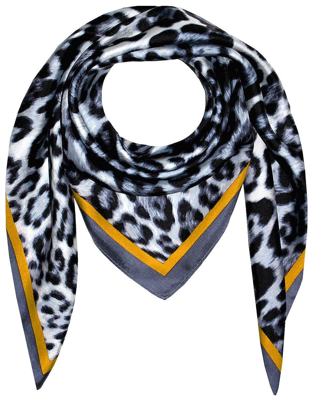 Lorenzo Cana Luxus Seidentuch aufwä ndig bedrucktes Tuch 100% Seide 90 cm x 90 cm harmonische Gelb Grau Farben Damentuch Schaltuch 89198