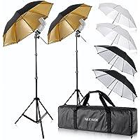 "Neewer® Flash Mount Three Umbrellas Kit (2)33""/84cm White Soft/Silver Reflective/Gold Reflective Umbrella for Canon 430EX II, 580EX II, Nikon SB600 SB800, Yongnuo YN560, YN565, Neewer TT560, TT680"