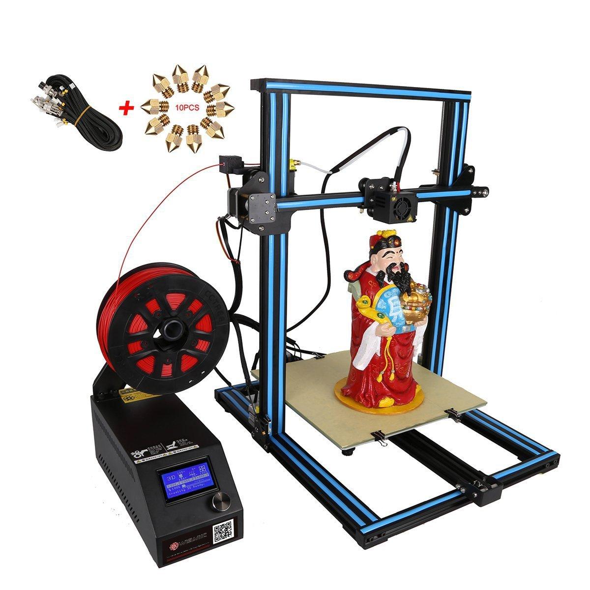 Wisamic Creality 3D Drucker CR-10S Prusa I3 mit Dual Z Axis Leading Screws und Filament Detector Groß e Flä che 300x300x400mm,mit Verlä ngerungskabel, 10 Stü ck Nozzels