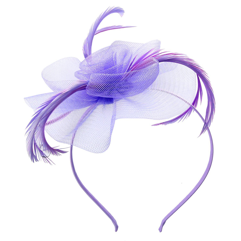 Elegante copricapo da donna con fiore e piume ideale da indossare a matrimoni o eventi di gala Discoball fascinator