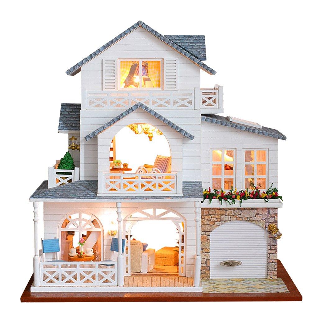 Fenteer DIY Puppen Haus Miniatur Puppenstube Kit mit mit mit Möbel, LED Lichter und Andere Zubehör - B ae7ce9