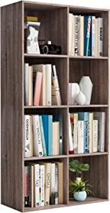 Homfa Bookshelf 4-Tier Wood Bookcase 8 Cube Modular Storage Organizer Cabinet Modern Home Office Furniture (Dark Oak)