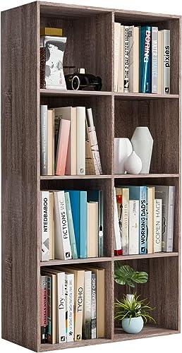 Homfa Bookshelf 4-Tier Bookcase 8 Cube Modular Storage Organizer Cabinet Modern Home Office Furniture Dark Oak