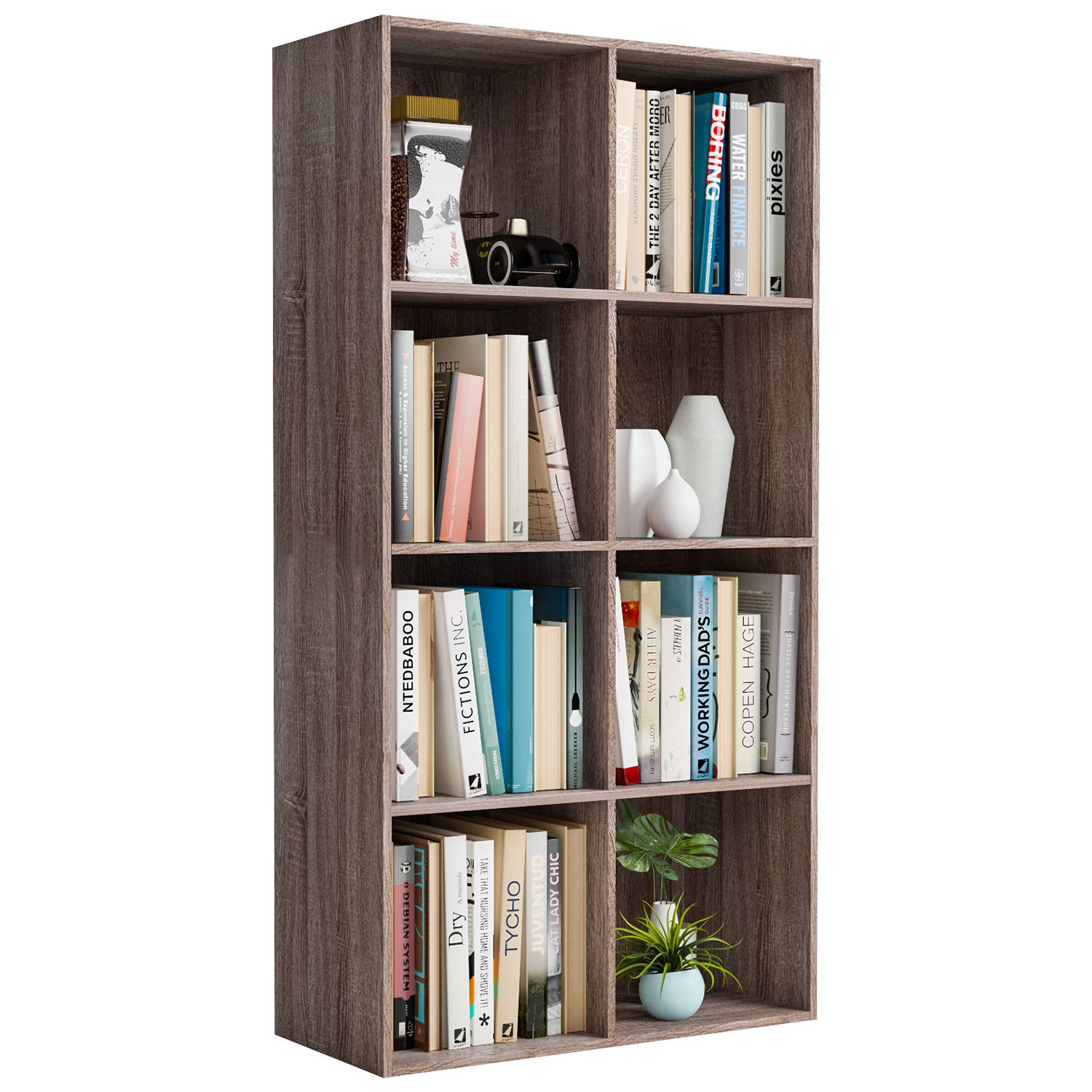 Amazon com homfa bookshelf 4 tier wood bookcase 8 cube modular storage organizer cabinet modern home office furniture dark oak kitchen dining