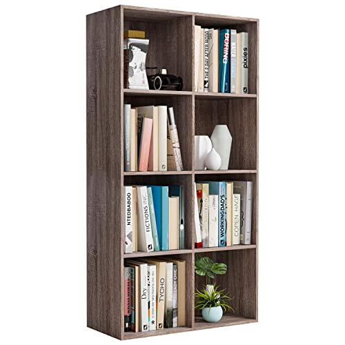 Homfa Bookshelf 4-Tier Wood Bookcase 8 Cube Modular Storage Organizer Cabinet Modern Home Office Furniture Dark Oak