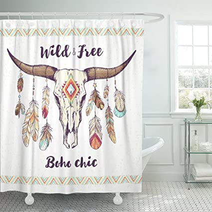 Emvency Shower Curtain Boho Chic Ethnic Native American Mexican Bull Skull With Feathers On Horns And