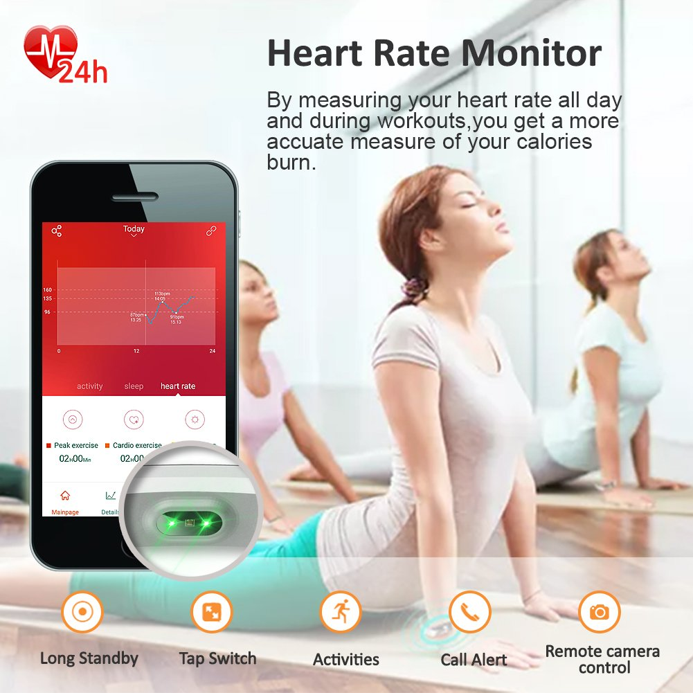 Lintelek Fitness Tracker, Heart Rate Monitor Activity Tracker with Connected GPS Tracker, Step Counter, Sleep Monitor, IP67 Waterproof Pedometer for Android and iOS Smartphone by Lintelek (Image #4)