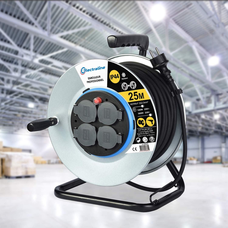 Electraline 20858018D Rallonge Prolongateur /électrique IP44 Profesionnelle /étanche 25 m Noir Section 3G1,5 mm/²
