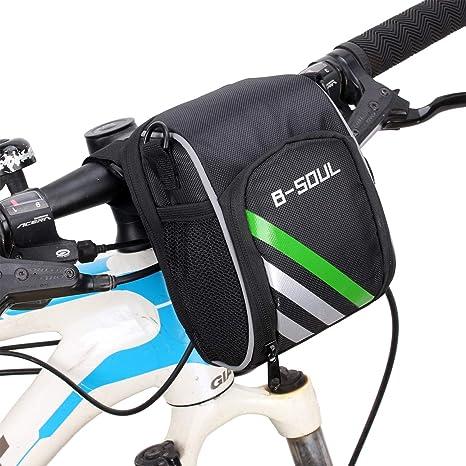 Manillar de Bicicleta, Bolsa de Tubo Frontal de Bicicleta multifunción, portátil con Bolsa de Red Bolsa de Manillar Impermeable, Adecuado para Bicicleta/Bicicleta MTB: Amazon.es: Deportes y aire libre