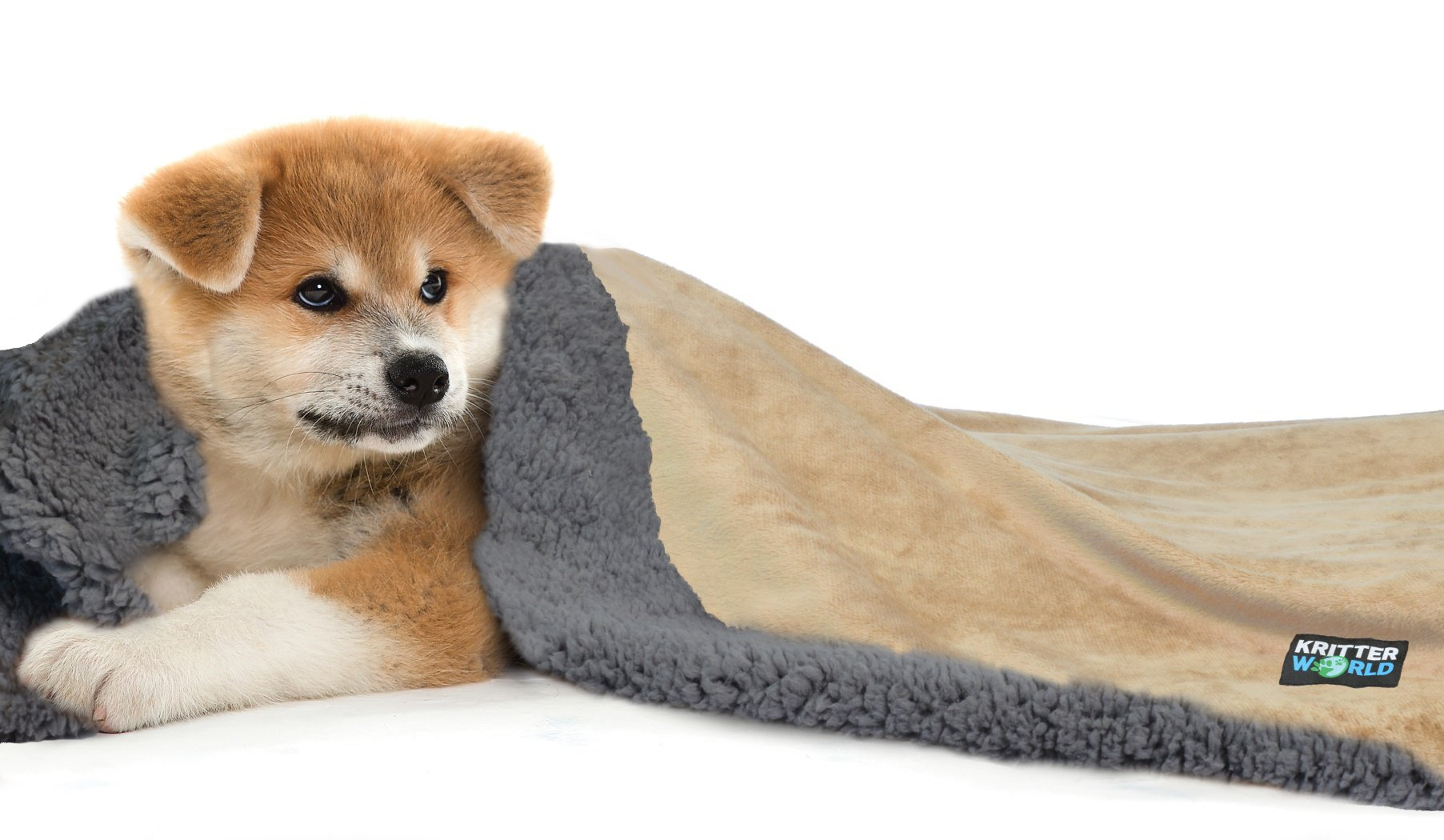KritterWorld Pet Dog Cat Puppy Kitten Microplush Sherpa Snuggle Blanket for Couch, Car, Trunk, Cage, Kennel, Dog House, 45'' x30'' Latte/Dark Grey